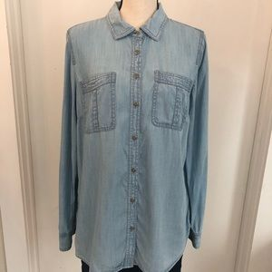 Talbots Denim Long Sleeve Double Breasted Shirt